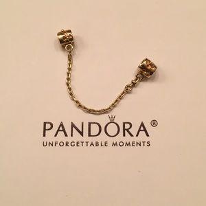 Pandora 14k Gold Flower Charm Safety Chain